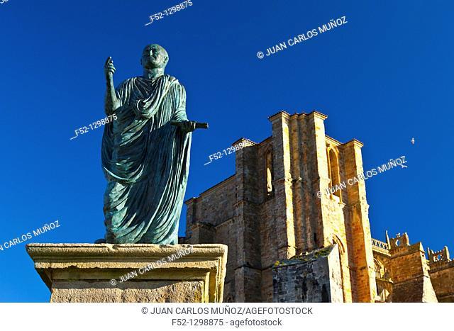 Monument to Emperor Augustus and church of Santa María de la Asunción, Castro Urdiales, Cantabria, Spain