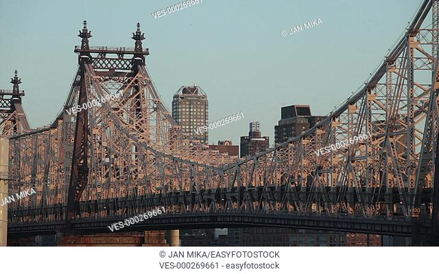 Fast motion morning scene of traffic at the Ed Koch Queensboro Bridge a cantilever bridge over the East River in New York City, USA