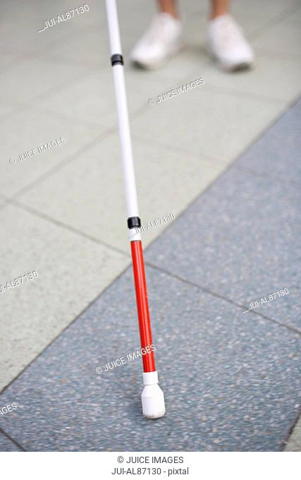 Close up of blind person's cane