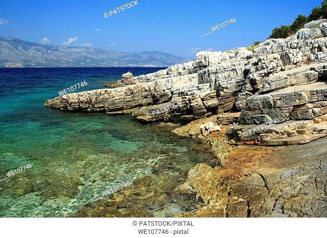 Rocky coast of Kabal Peninsula north of Stari Grad on Hvar Island, Croatia