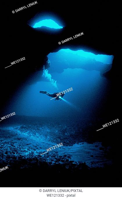 Diver in the Cathedral Sea Cave, discovered in 2001  It's one of the largest in the South Pacific  Tonga