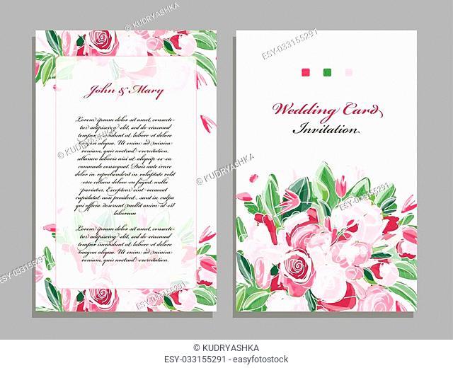 Wedding card template, floral design. Vector illustration