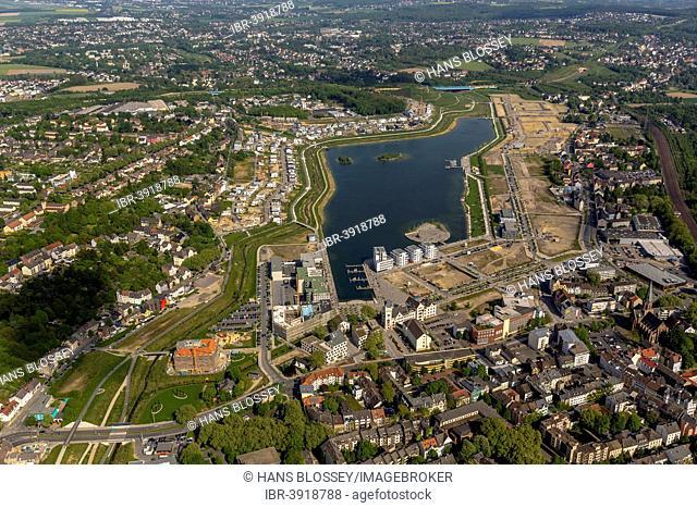 Aerial view, Phoenix-See lake, Hörde, Dortmund, Ruhr district, North Rhine-Westphalia, Germany