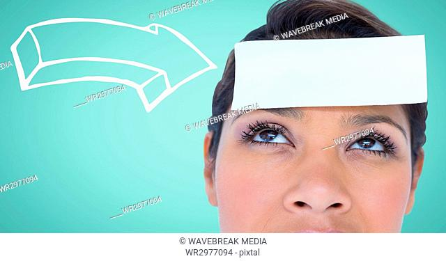 Woman with 3d white arrow pointing to card on head against aqua background