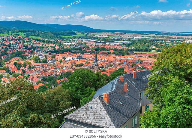 Aerial view over Wernigerode town and hills, Germany