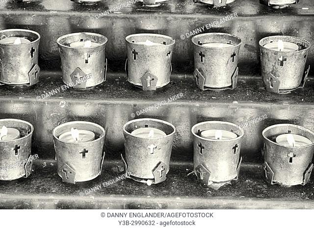Close-up detail of votive candles in Mission Basilica San Diego de Alcala, in San Diego, California