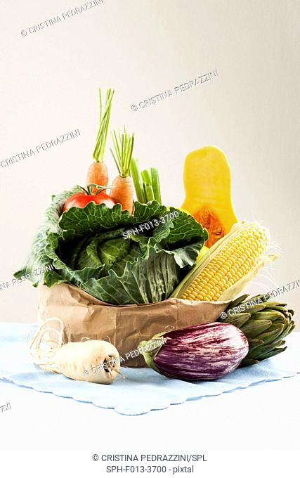 Selection of fresh vegetables in brown paper bag