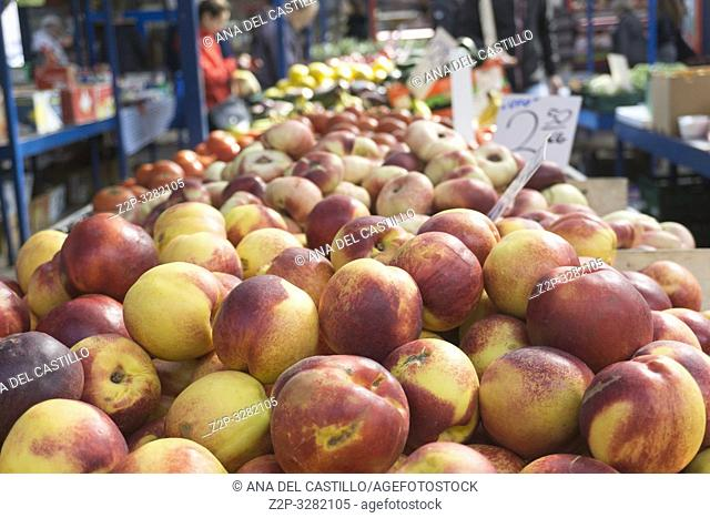 Fruit and other goods at a local market in Krakow on September 24, 2018 Poland
