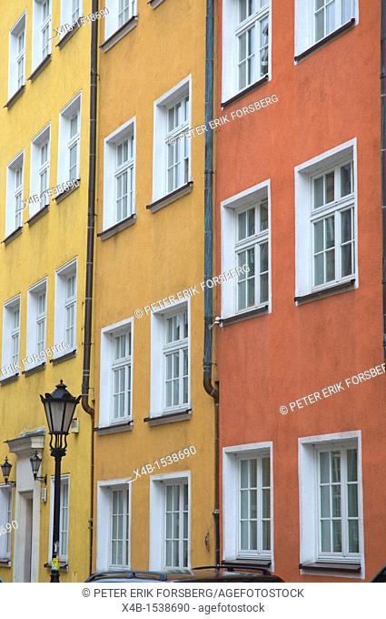 House facades along ulica Piwna street Glowne Miasto main town Gdansk Pomeriania northern Poland Europe