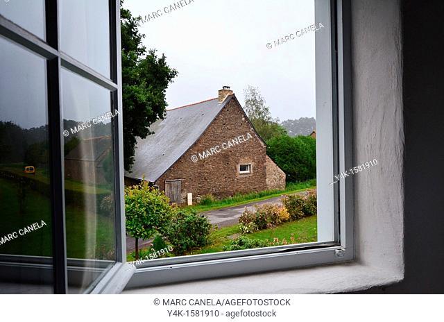 Europe, France, Bretagne, Brittany region, Boubansais, Pleugueneuc Village, Looking out the window
