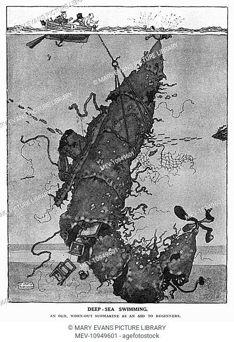 Deep-Sea Swimming. An Old, Worn-Out Submarine as an Aid to Beginners. One of a series of ideas suggested by William Heath Robinson for re-purposing redundant...