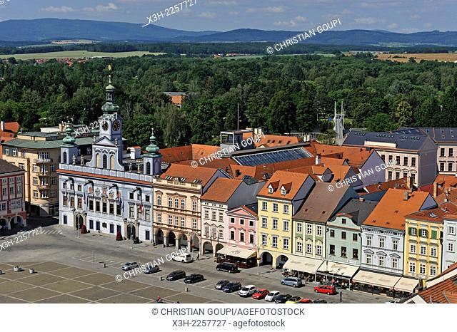 Town Hall on Premysl Ottokar II Square viewed from the top of the Black Tower, Ceske Budejovice, South Bohemian Region, Czech Republic, Europe