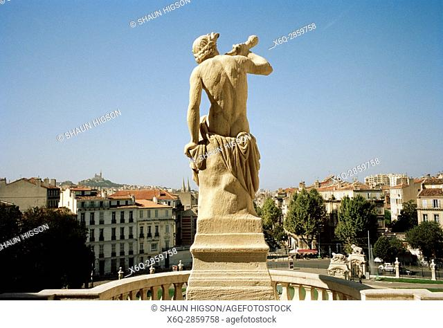Statue on the the Chateau D'eau in the Palais Longchamp in Marseille in Provence in Bouches du Rhone in France in Europe