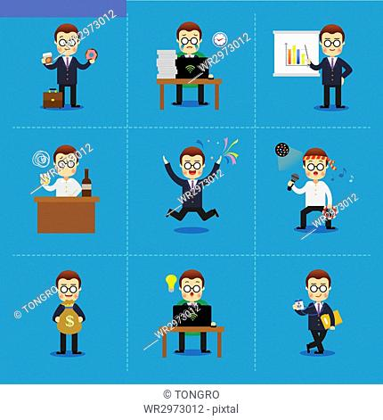 Illustration of businessman in various situations