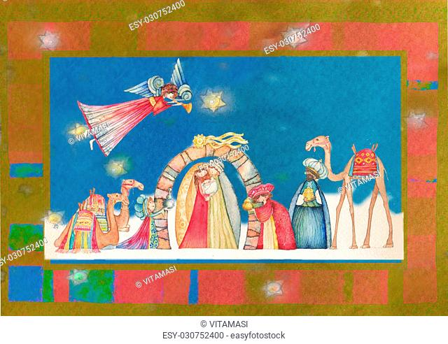 Christmas Nativity scene. Jesus, Mary, Joseph and the Three Wise Men and Angels with trumpet