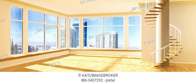 Room with a spiral staircase, view over a skyline, 3D illustration