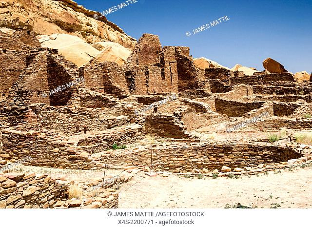 Excavated ruins at the massive Pueblo Bonito Great House