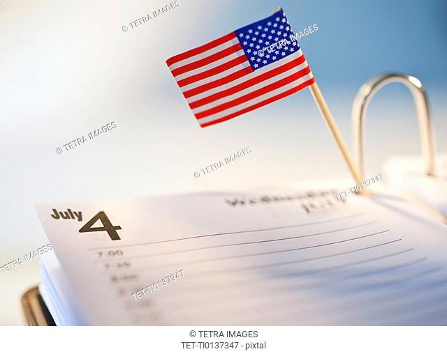 American Flag in day timer