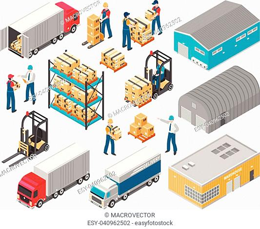 Isolated isometric warehouse logistic icon set with warehouse building trucks and cargo vector illustration