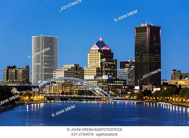 City skyline and the Genesee River, Rochester, New York, USA