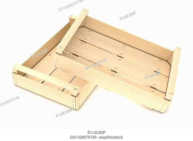 two wooden crates on white background (3d render)