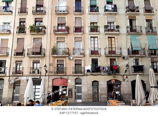 Facade, Windows and Doors in the center of Barcelona, Spain