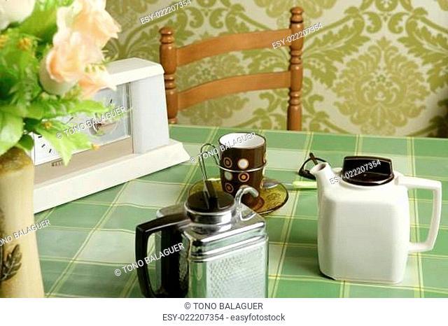 coffee machine retro kitchen green tablecloth