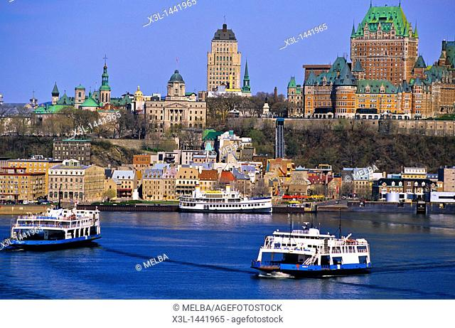 Wharf at the Port of Quebec, above which stands the Chateau Frontenac hotel  Quebec City, Quebec, Canada