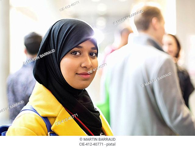 Portrait smiling, confident businesswoman wearing hijab