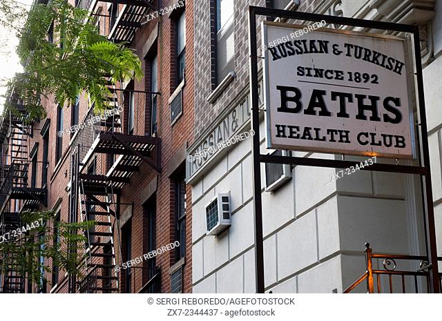 Russian & Turkish Baths, 10th Street, East Village, Manhattan, New York. Take the venerable Russian & Turkish Baths on East Tenth Street between First Avenue...