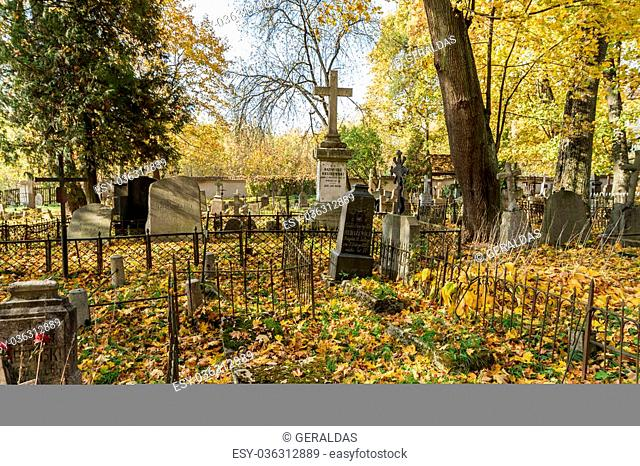 A very old cemetery photographed in autumn