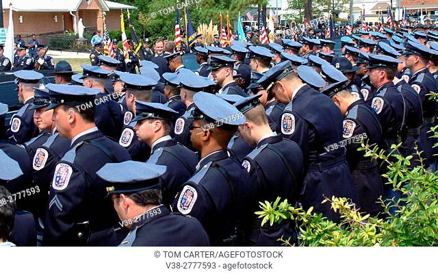 hundreds of policemen at a police funeral in North Beach, Maryland