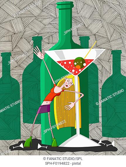 Drunk young woman in party with martini glass, illustration