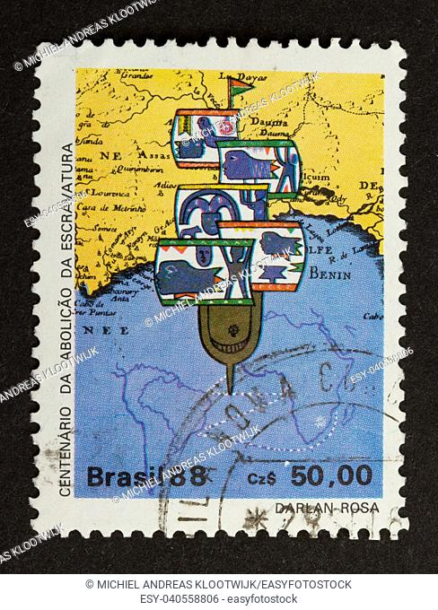 BRASIL - CIRCA 1980: Stamp printed in the Brasil shows a picture of a ship and a map, circa 1980