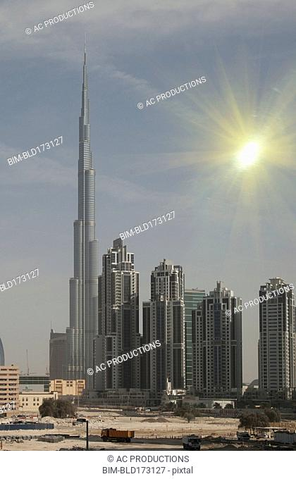 Highrise buildings in Dubai cityscape, Dubai Emirate, United Arab Emirates