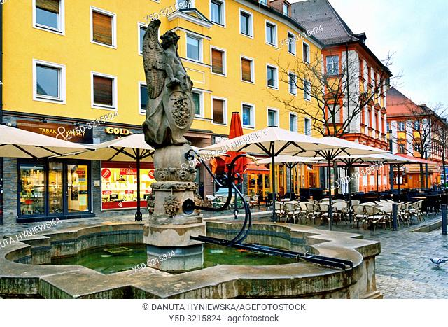 Famabrunnen mit Ruhm Angel, Fama Fountain with Glory Angel, Elias Räntz, Maximilianstrasse, promenade, old town, Bayreuth, capital of Upper Franconia, Bavaria