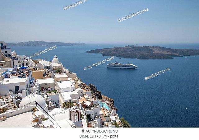 High angle view of cruise ship sailing at Santorini, Cyclades, Greece