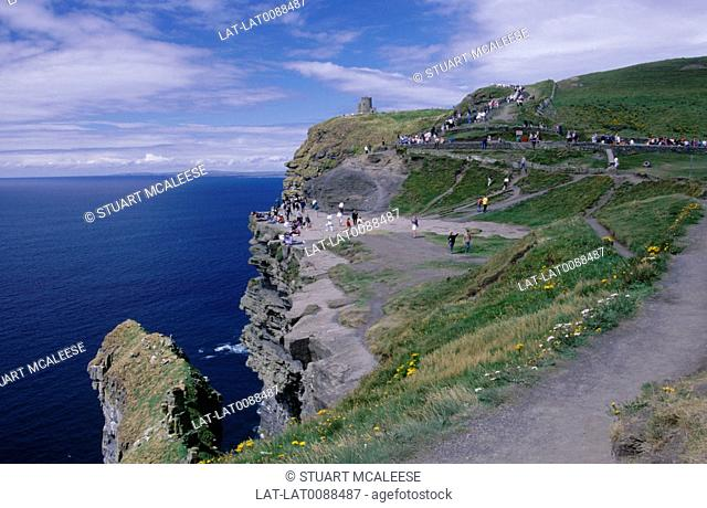 The Cliffs of Moher are located at the south-western edge of The Burren area near Doolin. The cliffs reach their maximum height of 214 meters 702
