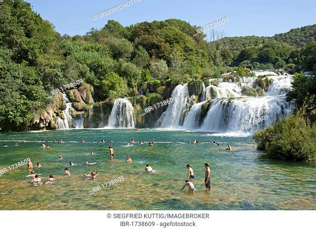 Waterfall in Krka National Park, Adriatic Coast, Croatia, Europe