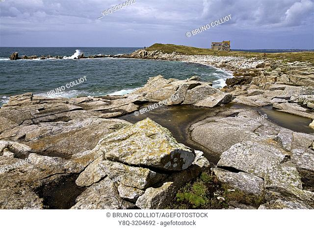 coastal landscape and isolated house in Lampaul Plouarzel, Finistere, Brittany, France