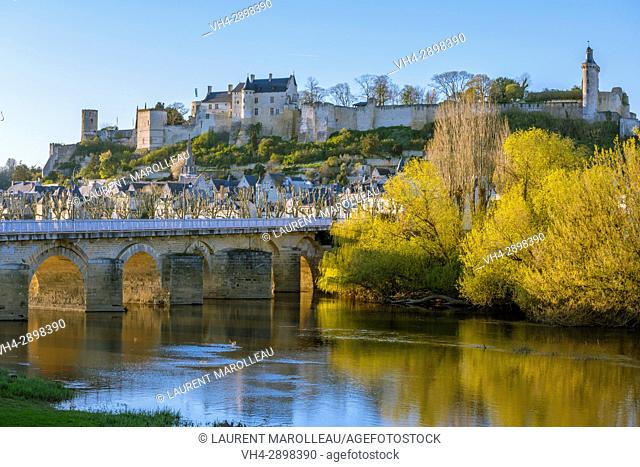The Eleanor of Aquitaine Bridge, the City and the Royal Fortress of Chinon. Indre-et-Loire Department, Centre-Val de Loire Region, Loire valley, France, Europe