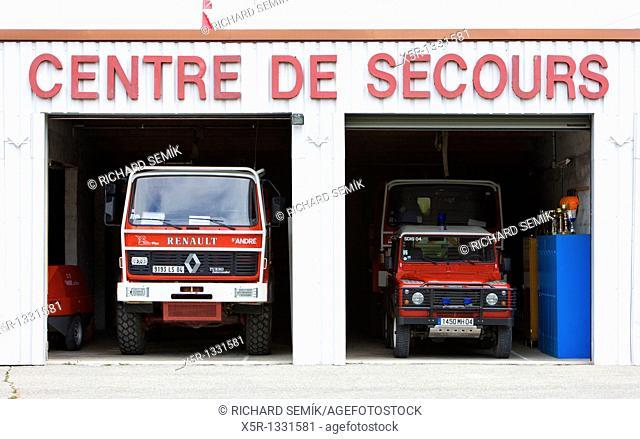 fire engines, Saint-Andre-les-Alpes, Provence, France