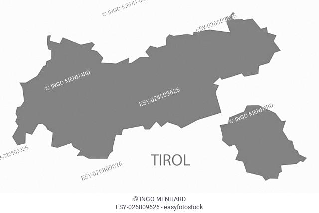 Tirol Austria Map in grey