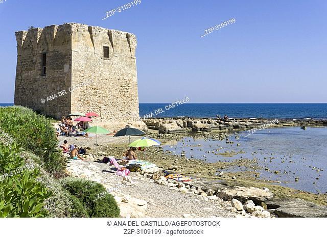 Defensive tower at Coast of the Adriatic sea in San Vito Polignano al Mare Puglia, Italy
