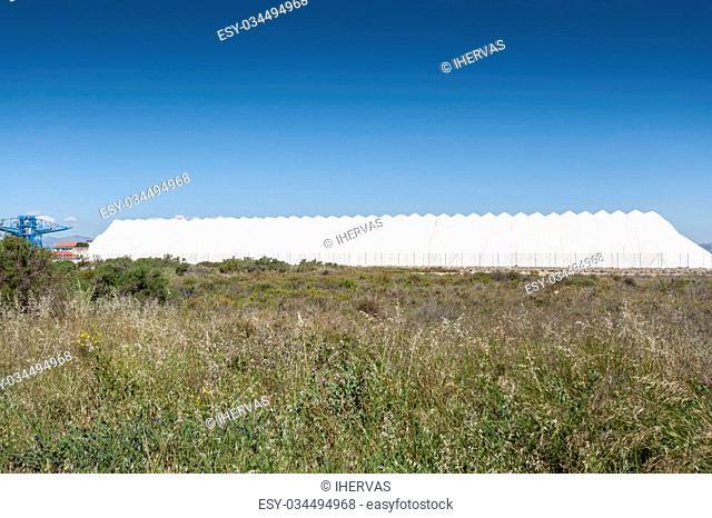 Saltworks in Santa Pola town. It is a coastal town located in the comarca of Baix Vinalopo, in the Valencian Community, Alicante, Spain, by de Mediterranean Sea