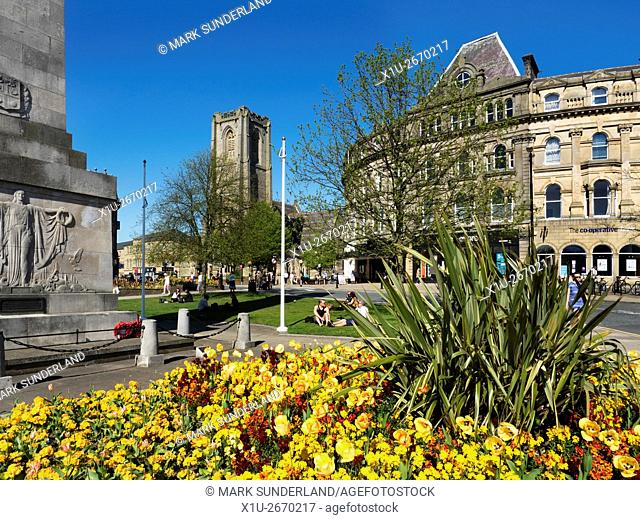 Spring Flowers and St Peters Church in Harrogate North Yorkshire England