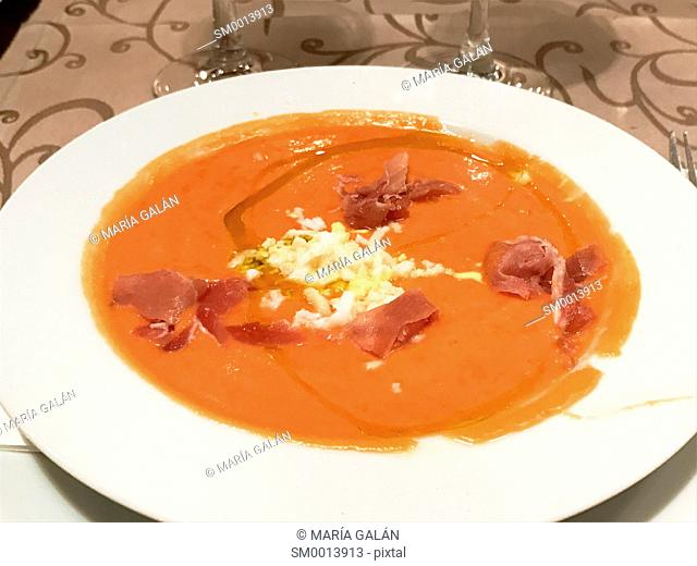 Salmorejo cordobes serving. Spain