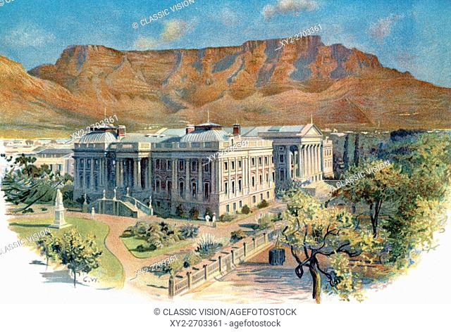 Parliament House with Table Mountain behind, Cape Town, South Africa in the 19th century. From The Century Edition of Cassell's History of England, published c