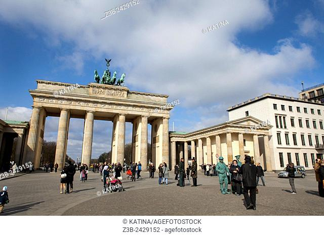 The Brandenburg Gate (German: Brandenburger Tor) is an 18th-century neoclassical triumphal arch in Berlin, and one of the best-known landmarks of Germany
