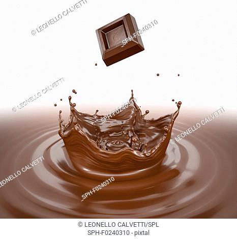 Chocolate cube splashing into a chocolate liquid pool with crown splash and circular ripples. Bird eye view. On white background